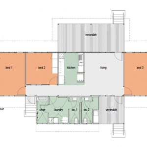 Demonstration house plan. Note the separation of toilet and shower for built in redundancy and increased function.