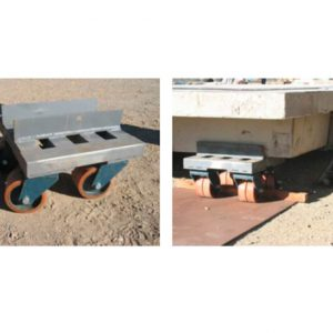Wheels provided maneuverability for installation on site.